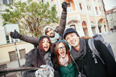 Group Of Tourists Taking Selfie Stock Image