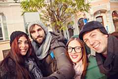 Group Of Tourists Taking Selfie Stock Photos