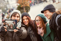 Group Of Tourists Taking Selfie Royalty Free Stock Images