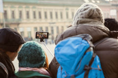 Group Of Tourists Taking Selfie Stock Images
