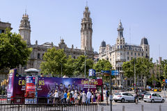 A group of tourists traveling on Sightseeing Hop on Hop off bus Stock Images