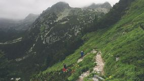 Group of tourists trekking in High Tatra mountains. Vysoke Tatry, Slovakia. People walking by stone trail over the precipice. Summer nature landscape. Sport stock video footage