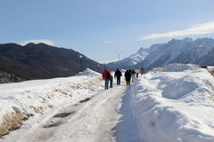 Group of tourists walking on snow-covered  road Royalty Free Stock Photos