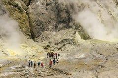 Group of tourists on White Island Stock Photo