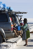 Group of tourists and 4x4 cars at the Isla Incahuasi in the Sala Royalty Free Stock Photo