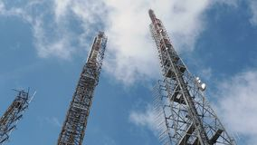Group of towers for telecommunications, television broadcast, cellphone, radio and satellite on Linzone mountain peak