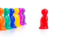 Group of toys. Leader and the team. Colorful toy people group Royalty Free Stock Photos