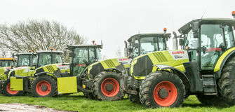 A group of tractors parked up Stock Image