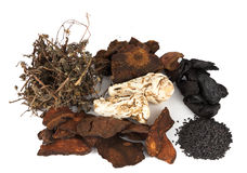 Group of Traditional Chinese Dried Herbs Stock Photo