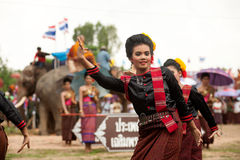 Group of traditional dancing in Ordination parade on elephant's Royalty Free Stock Photography