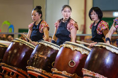 A group of traditional Japanese drummers. During a festival dedicated to Japan Stock Photos