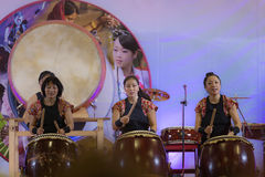 A group of traditional Japanese musicians. During a festival dedicated to Japan Royalty Free Stock Photos