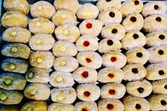 A group of Traditional Polish donuts jam royalty free stock image