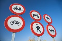 Group of traffic signs Stock Photography