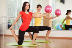 Group training in a fitness center royalty free stock image