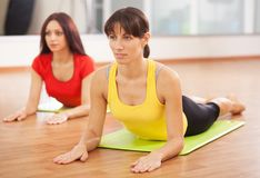 Group training in a fitness center stock photo