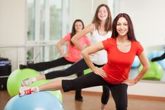 Group training in a fitness center stock image