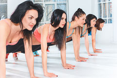 Group training in a gym of a fitness center Royalty Free Stock Images