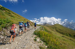 Group of trakkers in the summer mountains Stock Image