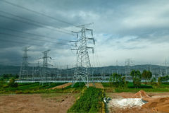 Group of transmission tower in the field Stock Images