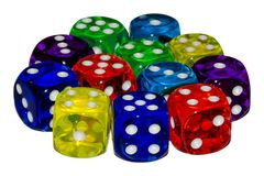 Group of colored playing dice stock photos