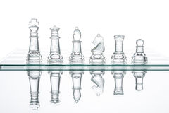 Group transparent glass Chess, Reflection Studio Shot War Stock Images