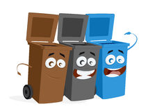 Group of trashcans waiting for trash Royalty Free Stock Photos