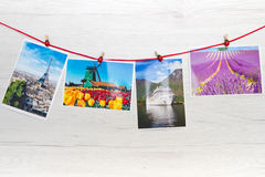 A group of Travel cards on wood. Group of Travel cards on wood Stock Photo