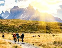 Group of travelers with backpacks go on a trail toward the mountains. Backpackers and hikers style. Concept of active leisure.  stock images