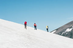 Group Travelers climbing mountains glacier Royalty Free Stock Photography