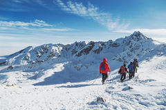 Group travelers go to the large winter mountain hike. Landscepe Stock Photo