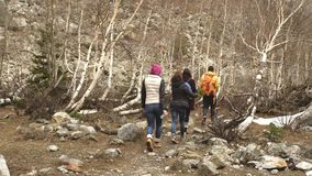 The group of travelers go to the mountains of Georgia. The nature of the Georgia mountains in Georgia stock footage