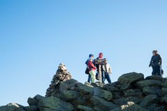 Group of travelers on Mount Washington. Stock Photography