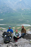 Group of travelers in mountains with knapsacks Royalty Free Stock Photos