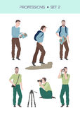 Group of travellers vector set. Vector set of travelling related professions, travelling concept, traveller and photographer in different poses Royalty Free Stock Image