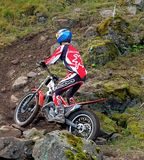 Group of trial motorcycle riders going uphill Royalty Free Stock Photography