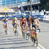 Group of triathletes cycling Stock Images