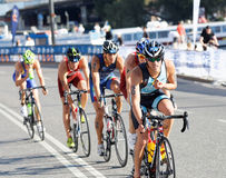 Group of triathletes cycling Stock Image