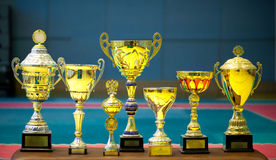 Group of trophies. Group of gold trophies - the symbol of victory royalty free stock photo