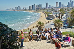 A group of turists near the Mediterranean Royalty Free Stock Image