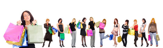 Group of Twelve shopping girls with happy and rela Royalty Free Stock Photography
