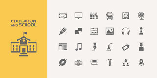 Group of twenty education and school icons. Twenty education and school icons set Stock Images
