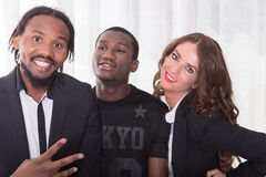 Group of two africans and one caucasian girl.  royalty free stock images