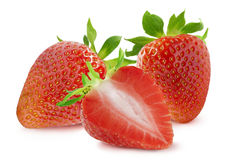 Group of two strawberries and half  on white background Royalty Free Stock Photos