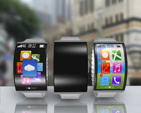 Group of ultra-lightweight curved screen smartwatch with steel w Royalty Free Stock Photo
