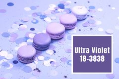 Group of Ultra Violet macarons. Group of Ultra Violet colorful macarons on trendy background Stock Photos