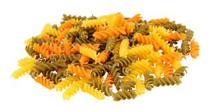 Group Of Tricolore Fusilli Pasta Twists royalty free stock photography