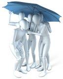 Group under umbrella Stock Photo