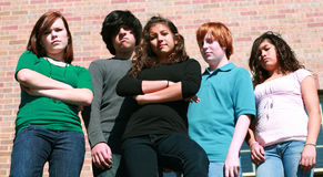 Group of unhappy teens Stock Photography