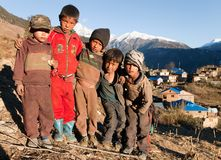 Group of unidentified nepalese children in western Nepal Stock Photos